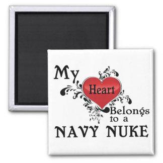 Mi corazón pertenece a un arma nuclear de la marin imán cuadrado
