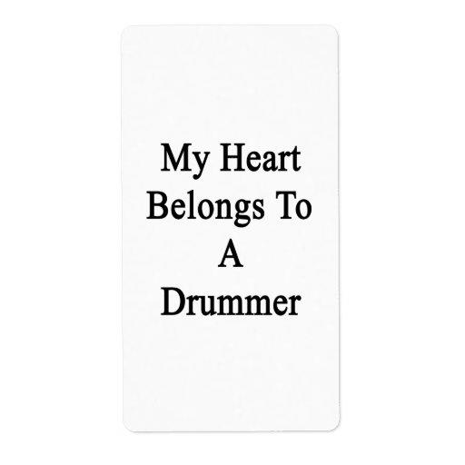 Mi corazón pertenece a un batería etiqueta de envío