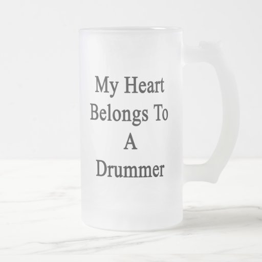 Mi corazón pertenece a un batería taza cristal mate