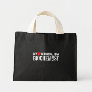 Mi corazón pertenece a un bioquímico bolsas lienzo