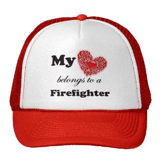 Mi corazón pertenece a un bombero gorras