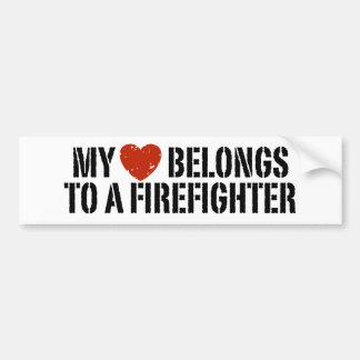Mi corazón pertenece a un bombero pegatina para auto