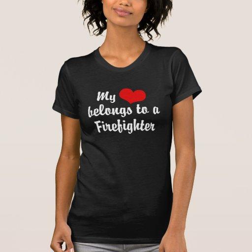 Mi corazón pertenece a un bombero playera