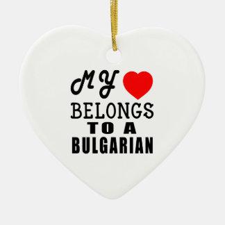 Mi corazón pertenece a un búlgaro adorno de cerámica en forma de corazón