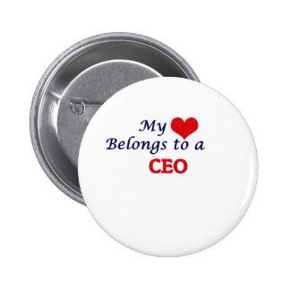 Mi corazón pertenece a un CEO Pin Redondo De 2 Pulgadas