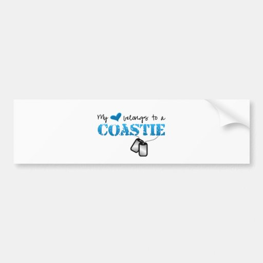 Mi corazón pertenece a un Coastie Etiqueta De Parachoque