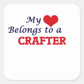 Mi corazón pertenece a un Crafter Pegatina Cuadrada
