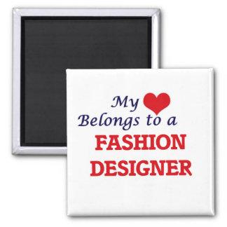 Mi corazón pertenece a un diseñador de moda imán cuadrado