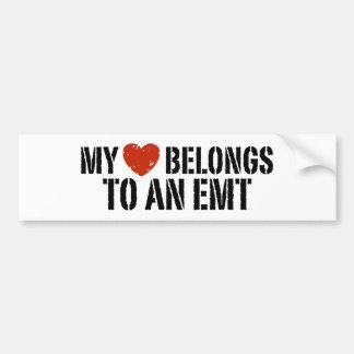 Mi corazón pertenece a un EMT Etiqueta De Parachoque