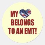 Mi corazón pertenece a un EMT Pegatinas Redondas