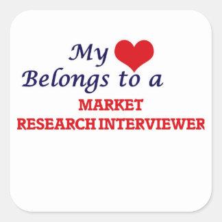 Mi corazón pertenece a un entrevistador del pegatina cuadrada