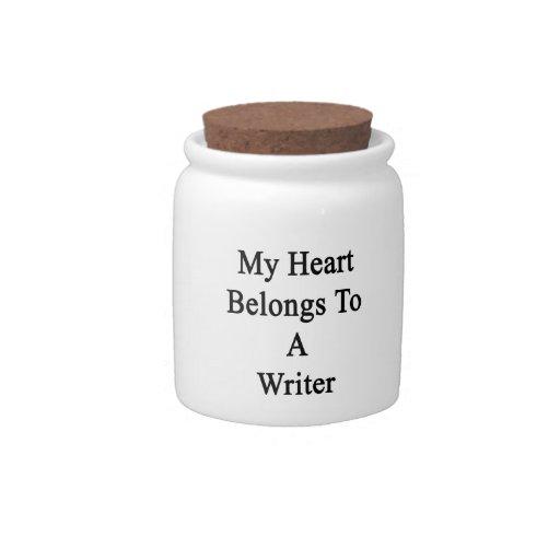 Mi corazón pertenece a un escritor plato para caramelo