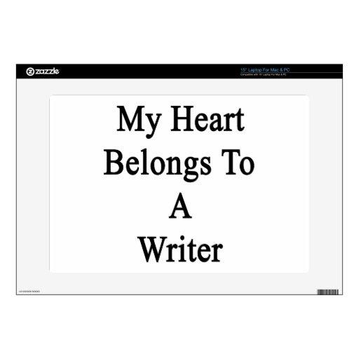 Mi corazón pertenece a un escritor 38,1cm portátil calcomanías