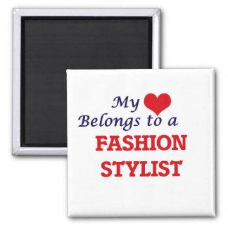 Mi corazón pertenece a un estilista de la moda imán cuadrado