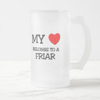 Mi corazón pertenece a un FRAILE Taza Cristal Mate
