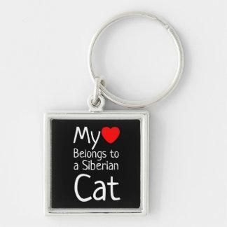 Mi corazón pertenece a un gato siberiano (el llavero cuadrado plateado