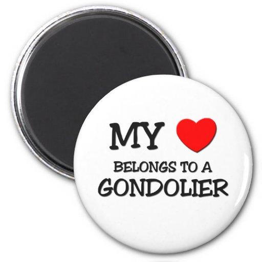 Mi corazón pertenece a un GONDOLERO Iman De Nevera