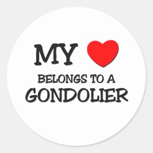 Mi corazón pertenece a un GONDOLERO Pegatinas Redondas