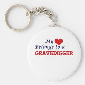 Mi corazón pertenece a un Gravedigger Llavero Redondo Tipo Pin