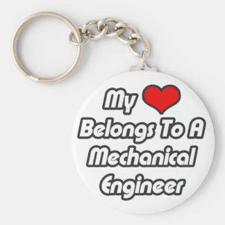 Mi corazón pertenece a un ingeniero industrial llavero redondo tipo pin