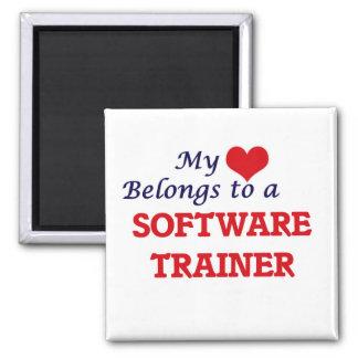 Mi corazón pertenece a un instructor del software imán cuadrado