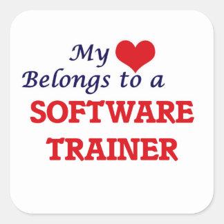 Mi corazón pertenece a un instructor del software pegatina cuadrada