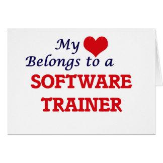 Mi corazón pertenece a un instructor del software tarjeta de felicitación