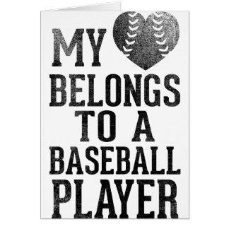 Mi corazón pertenece a un jugador de béisbol tarjeton