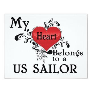 """Mi corazón pertenece a un marinero de los E.E.U.U. Invitación 4.25"""" X 5.5"""""""
