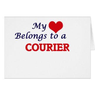 Mi corazón pertenece a un mensajero tarjeta de felicitación