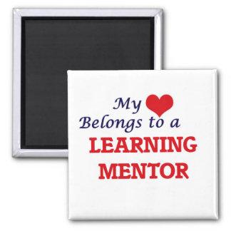 Mi corazón pertenece a un mentor de aprendizaje imán cuadrado