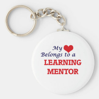 Mi corazón pertenece a un mentor de aprendizaje llavero redondo tipo pin