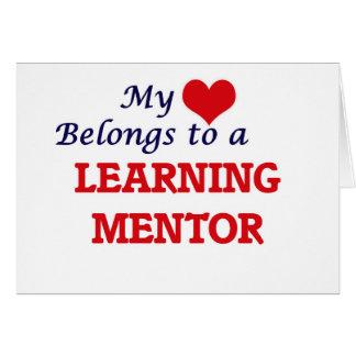 Mi corazón pertenece a un mentor de aprendizaje tarjeta de felicitación