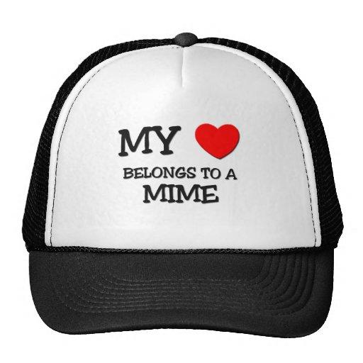 Mi corazón pertenece a un MIME Gorras