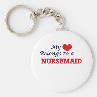 Mi corazón pertenece a un Nursemaid Llavero Redondo Tipo Pin