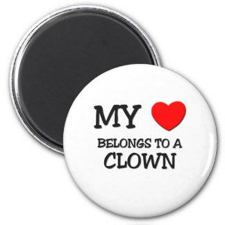 Mi corazón pertenece a un PAYASO Imán Redondo 5 Cm