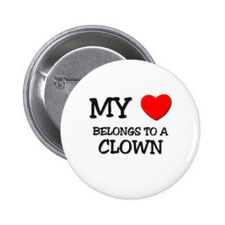 Mi corazón pertenece a un PAYASO Pin Redondo De 2 Pulgadas