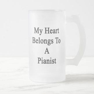 Mi corazón pertenece a un pianista jarra de cerveza esmerilada