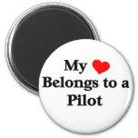 Mi corazón pertenece a un piloto iman de frigorífico