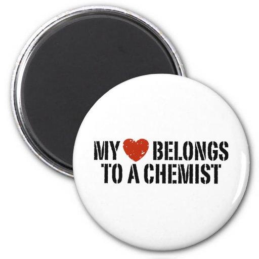 Mi corazón pertenece a un químico imán para frigorífico