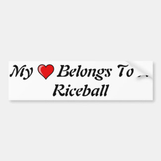 Mi corazón pertenece a un Riceball Pegatina Para Auto