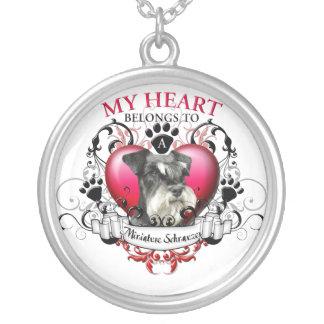 Mi corazón pertenece a un Schnauzer miniatura Collar Plateado