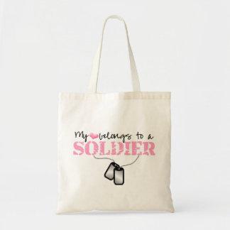 Mi corazón pertenece a un soldado bolsa tela barata