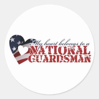 Mi corazón pertenece a un soldado de la guardia etiqueta redonda