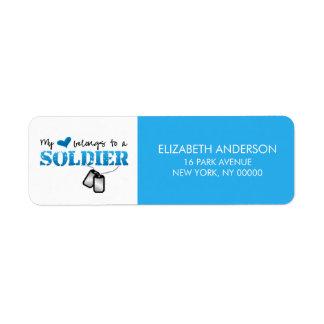 Mi corazón pertenece a un soldado etiqueta de remite