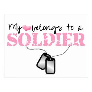 Mi corazón pertenece a un soldado tarjetas postales