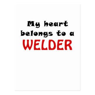 Mi corazón pertenece a un soldador tarjeta postal