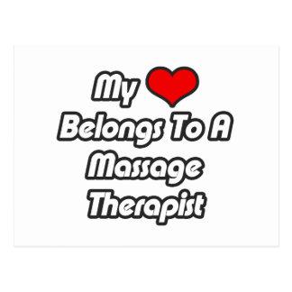 Mi corazón pertenece a un terapeuta del masaje tarjetas postales