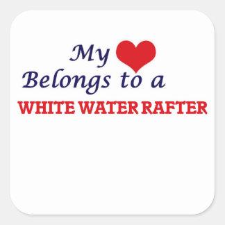 Mi corazón pertenece a un viga del agua blanca pegatina cuadrada