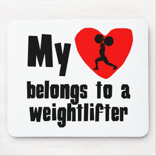 Mi corazón pertenece a un Weightlifter Alfombrillas De Ratón